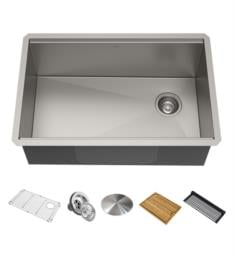 "Kraus KWU111-23 Kore 23"" Single Bowl Undermount Workstation Stainless Steel Rectangular Kitchen Sink"