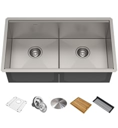 "Kraus KWU112-33 Kore 33"" Double Bowl Undermount Workstation Stainless Steel Rectangular Kitchen Sink"