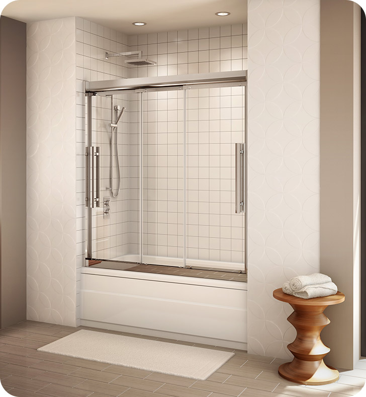 Fleurco ETR060-25-40 Banyo Treviso Semi Frameless In Line Sliding Tub Doors With Hardware Finish: Brushed Nickel And Glass Type: Clear Glass