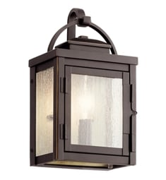 "Kichler 59010RZ Carlson 11"" 1 Light Outdoor Wall Light with Clear Seeded Glass Rubbed Bronze"