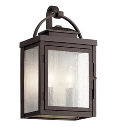 "Kichler 59011RZ Carlson 14 3/4"" 2 Light Outdoor Wall Light with Clear Seeded Glass Rubbed Bronze"