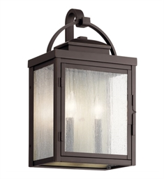 "Kichler 59012RZ Carlson 18 1/4"" 2 Light Outdoor Wall Light with Clear Seeded Glass Rubbed Bronze"