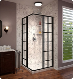 DreamLine SHEN-8140400-89 French Corner 40 1/2 in. W x 40 1/2 in. D x 72 in. H Framed Sliding Shower Enclosure in Satin Black