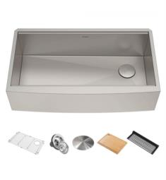 "Kraus KWF210-36 Kore 35 7/8"" Single Bowl Farmhouse/Apron Front Stainless Steel Rectangular Kitchen Sink in Satin"