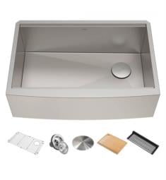 "Kraus KWF210-30 Kore 29 7/8"" Single Bowl Farmhouse/Apron Front Stainless Steel Rectangular Kitchen Sink in Satin"