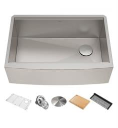 "Kraus KWF210-33 Kore 32 7/8"" Single Bowl Farmhouse/Apron Front Stainless Steel Rectangular Kitchen Sink in Satin"