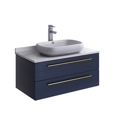 "Fresca FCB6132RBL-VSL-I Lucera 32"" Blue Wall Hung Vessel Sink Modern Bathroom Cabinet with Top & Vessel Sink"