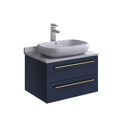 "Fresca FCB6124RBL-VSL-I Lucera 24"" Blue Wall Hung Modern Bathroom Cabinet with Top & Vessel Sink"