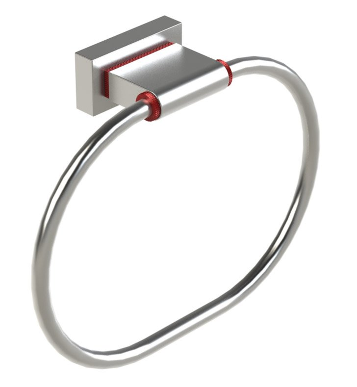 Rubinet 7DRT0MBCH R10 Towel Ring With Finish: Main Finish: Matt Black | Accent Finish: Chrome