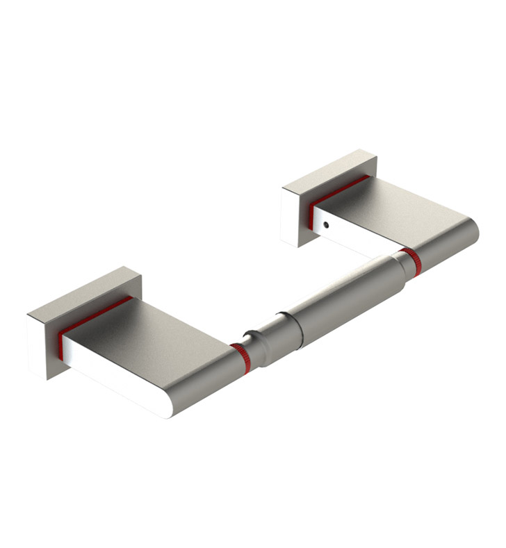 Rubinet 7ERT0SNRD R10 Toilet Paper Holder With Finish: Main Finish: Satin Nickel | Accent Finish: Red