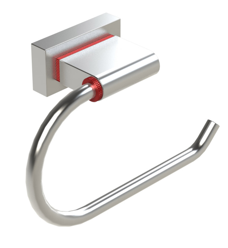 Rubinet 7FRT0RDCH R10 Toilet Paper Holder With Finish: Main Finish: Red | Accent Finish: Chrome