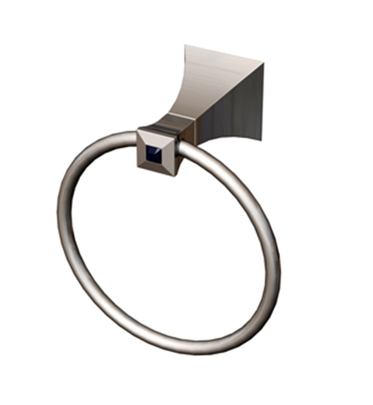 Rubinet 7DIC0SBSBJT Ice Towel Ring With Finish: Main Finish: Satin Brass | Accent Finish: Satin Brass And Crystal Accent: Black Crystal Accent