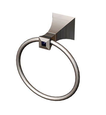 Rubinet 7DIC0SNSNCL Ice Towel Ring With Finish: Main Finish: Satin Nickel | Accent Finish: Satin Nickel And Crystal Accent: Clear Crystal Accent