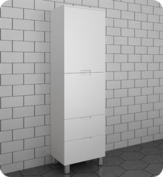 Fresca FST1040WH White Bathroom Linen Side Cabinet with 4 Storage Areas