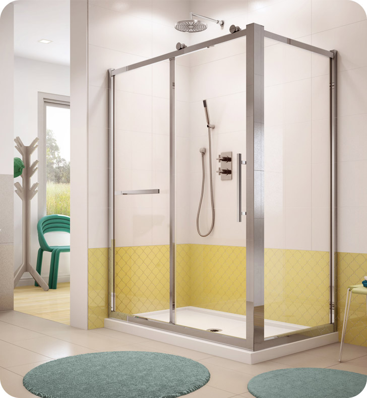 "Fleurco FSR7242-11-50 Forte Sorrento In Line Door and Panel with Return Panel With Dimensions: Width: 69 1/2"" to 70"" 