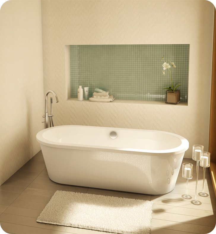 Fleurco Aria Tranquility II Acrylic Bathtub With Drain and Overflow Finish: Brushed Nickel