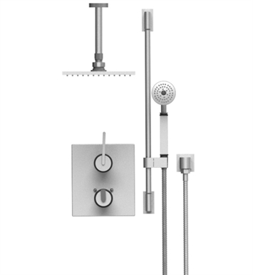 "Rubinet 22RTL R10 Temperature Control Shower with Two Way Diverter & Shut-Off, Handheld Shower, Bar, Integral Supply & Ceiling Mount 8"" Shower Head & Arm"