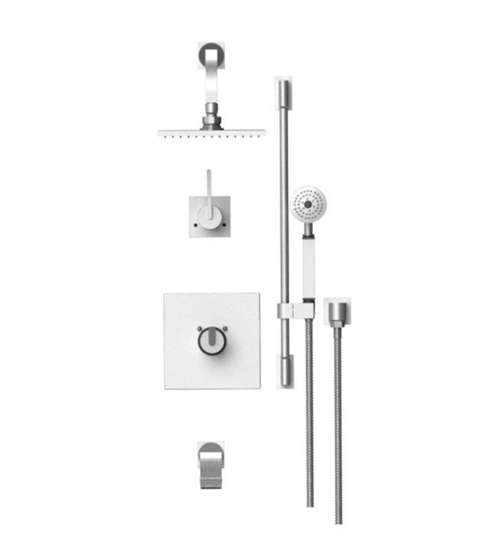 "Rubinet 24RTL R10 Temperature Control Tub & Shower with Three Way Diverter & Shut-Off, Handheld Shower, Bar, Integral Supply & Wall Mount Tub Filler Spout and Wall Mount 8"" Shower Head & Arm"