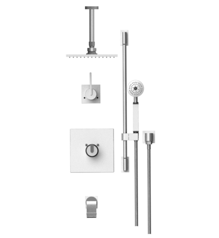 "Rubinet 25RTL R10 Temperature Control Tub & Shower with Three Way Diverter & Shut-Off, Handheld Shower, Bar, Integral Supply & Wall Mount Tub Filler Spout and Ceiling Mount 8"" Shower Head & Arm"