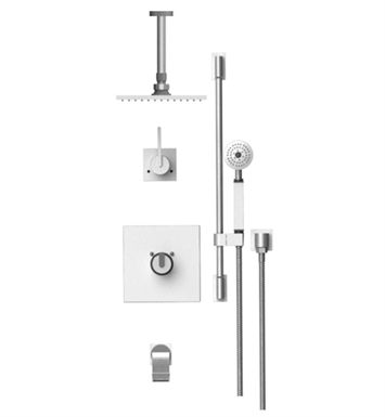 "Rubinet 25RTLSNSN R10 Temperature Control Tub & Shower with Three Way Diverter & Shut-Off, Handheld Shower, Bar, Integral Supply & Wall Mount Tub Filler Spout and Ceiling Mount 8"" Shower Head & Arm With Finish: Main Finish: Satin Nickel 