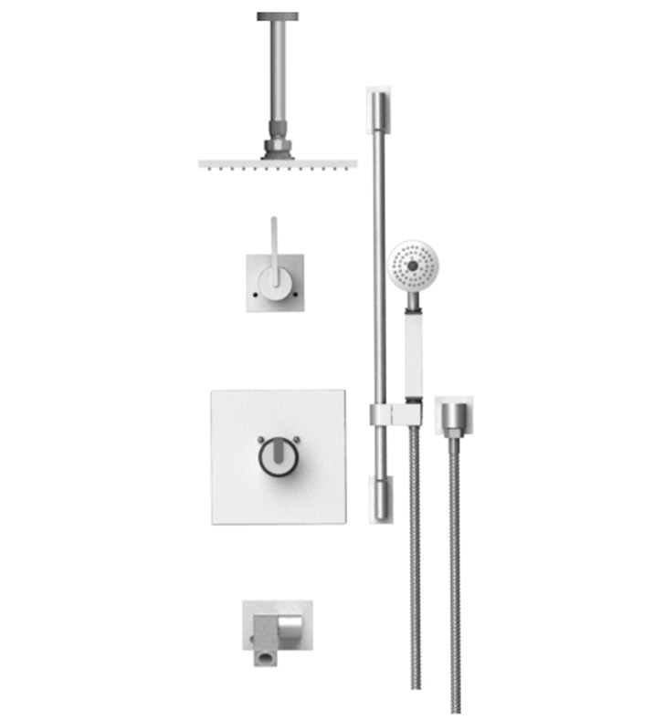 "Rubinet 28RTLSNSN R10 Temperature Control Tub & Shower with Three Way Diverter & Shut-Off, Handheld Shower, Bar, Integral Supply, Wall Mount Bidet/Foot Rinse and Ceiling Mount 8"" Shower Head & Arm With Finish: Main Finish: Satin Nickel 