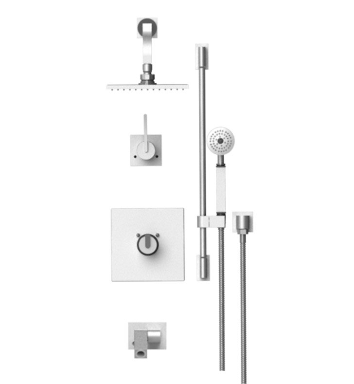 "Rubinet 27RTLMWCH R10 Temperature Control Tub & Shower with Three Way Diverter & Shut-Off, Handheld Shower, Bar, Integral Supply, Wall Mount Bidet/Foot Rinse and Wall Mount 8"" Shower Head & Arm With Finish: Main Finish: Matt White 