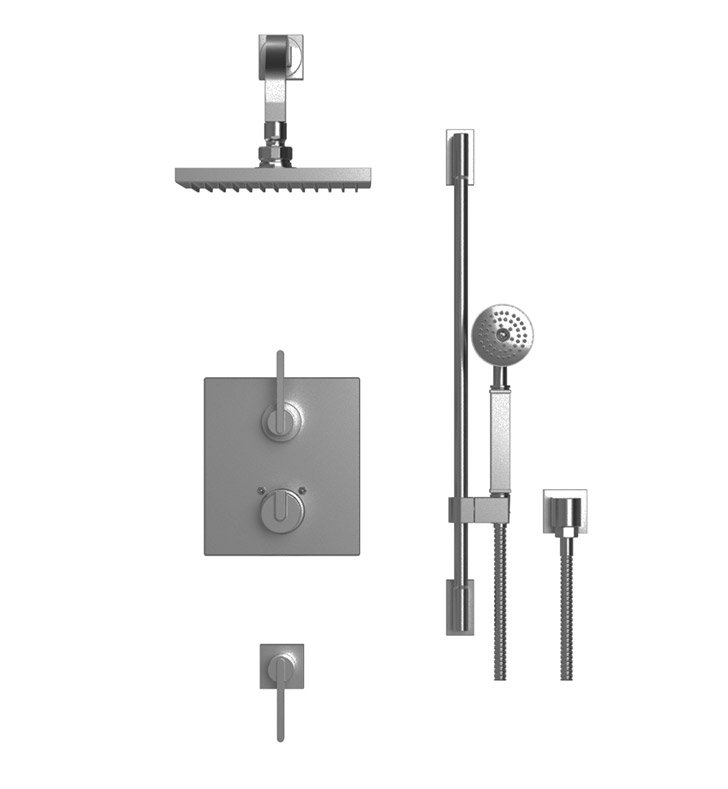 "Rubinet 41RTQMBCH R10 Temperature Control Shower with Wall Mount 8"" Shower Head, Bar, Integral Supply & Hand Held Shower With Finish: Main Finish: Matt Black 