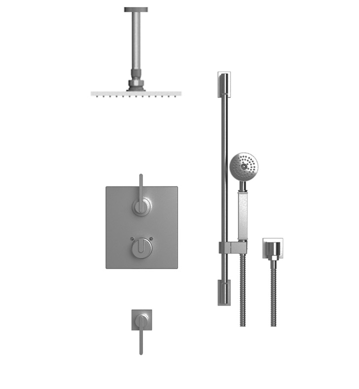 "Rubinet 42RTL R10 Temperature Control Shower with Ceiling Mount 8"" Shower Head, Bar, Integral Supply & Hand Held Shower"