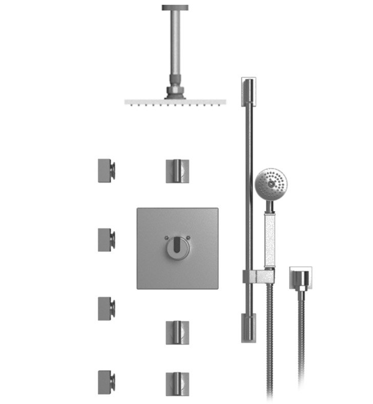 "Rubinet 47RTQCHCH R10 Temperature Control Shower with Ceiling Mount 8"" Shower Head, Bar, Integral Supply, Hand Held Shower & Four Body Sprays With Finish: Main Finish: Chrome 