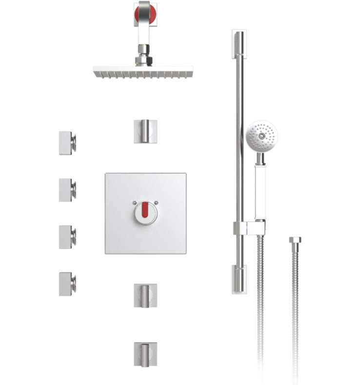 "Rubinet 46RTQMWCH R10 Temperature Control Shower with Wall Mount 8"" Shower Head, Bar, Integral Supply, Hand Held Shower & Four Body Sprays With Finish: Main Finish: Matt White 
