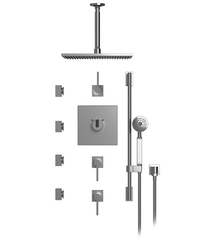 "Rubinet 48RTQ R10 Temperature Control Shower with Ceiling Mount 14"" Shower Head, Bar, Integral Supply, Hand Held Shower & Four Body Sprays"
