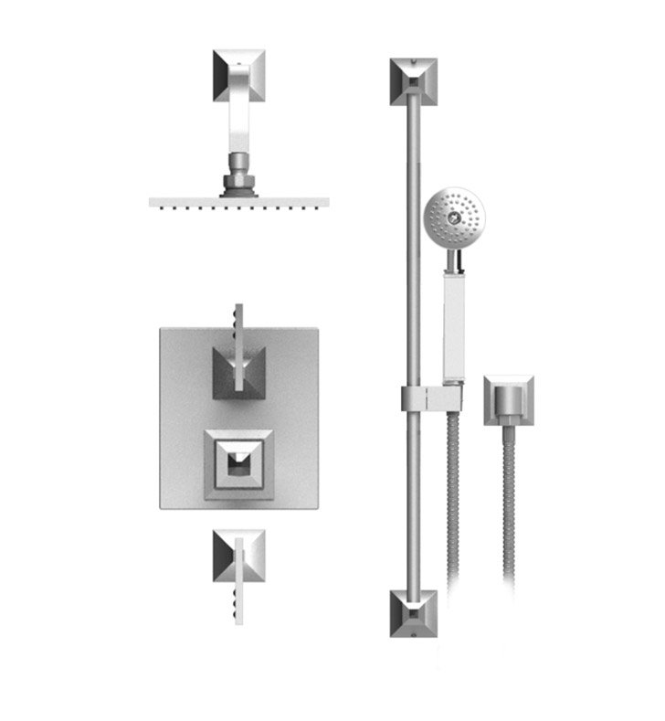 "Rubinet 41ICLPNPNJT Ice Temperature Control Shower with Wall Mount 8"" Shower Head, Bar, Integral Supply & Hand Held Shower With Finish: Main Finish: Polished Nickel 