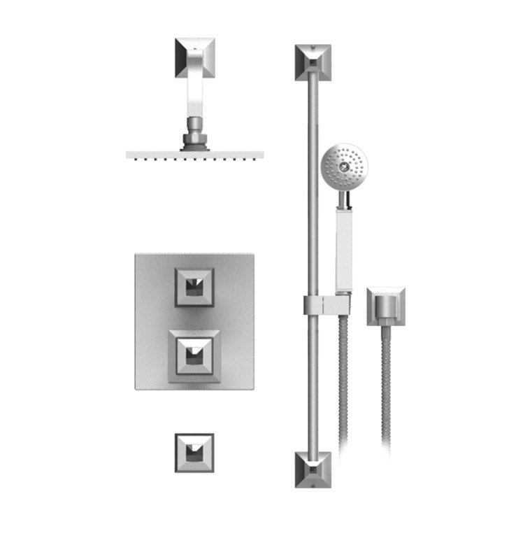 "Rubinet 41ICQTBTB Ice Temperature Control Shower with Wall Mount 8"" Shower Head, Bar, Integral Supply & Hand Held Shower With Finish: Main Finish: Tuscan Brass 