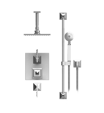 "Rubinet 42ICLCHCHCL Ice Temperature Control Shower with Ceiling Mount 8"" Shower Head, Bar, Integral Supply & Hand Held Shower With Finish: Main Finish: Chrome 