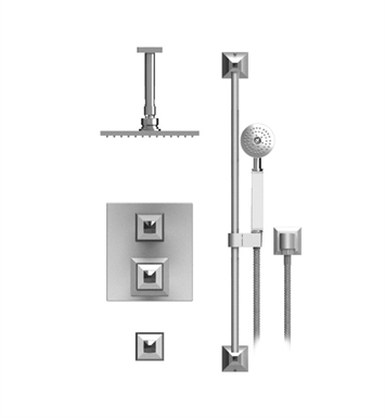 "Rubinet 42ICQCHCH Ice Temperature Control Shower with Ceiling Mount 8"" Shower Head, Bar, Integral Supply & Hand Held Shower With Finish: Main Finish: Chrome 