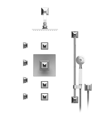 "Rubinet 46ICQSNSNJT Ice Temperature Control Shower with Wall Mount 8"" Shower Head, Bar, Integral Supply, Hand Held Shower & Four Body Sprays With Finish: Main Finish: Satin Nickel 