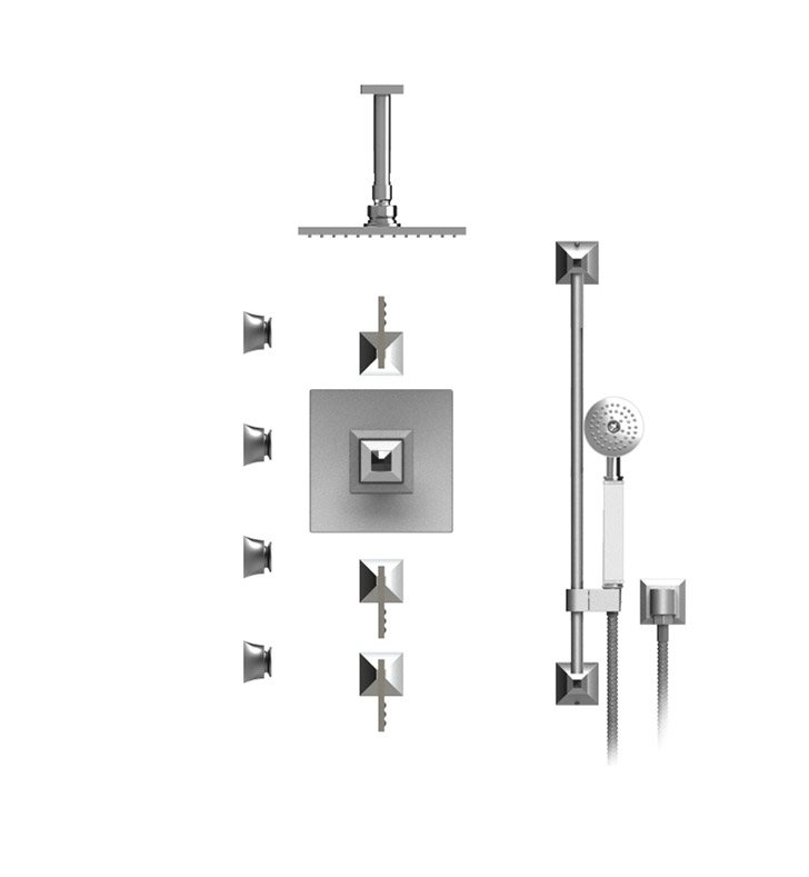"Rubinet 47ICLSNSNJT Ice Temperature Control Shower with Ceiling Mount 8"" Shower Head, Bar, Integral Supply, Hand Held Shower & Four Body Sprays With Finish: Main Finish: Satin Nickel 