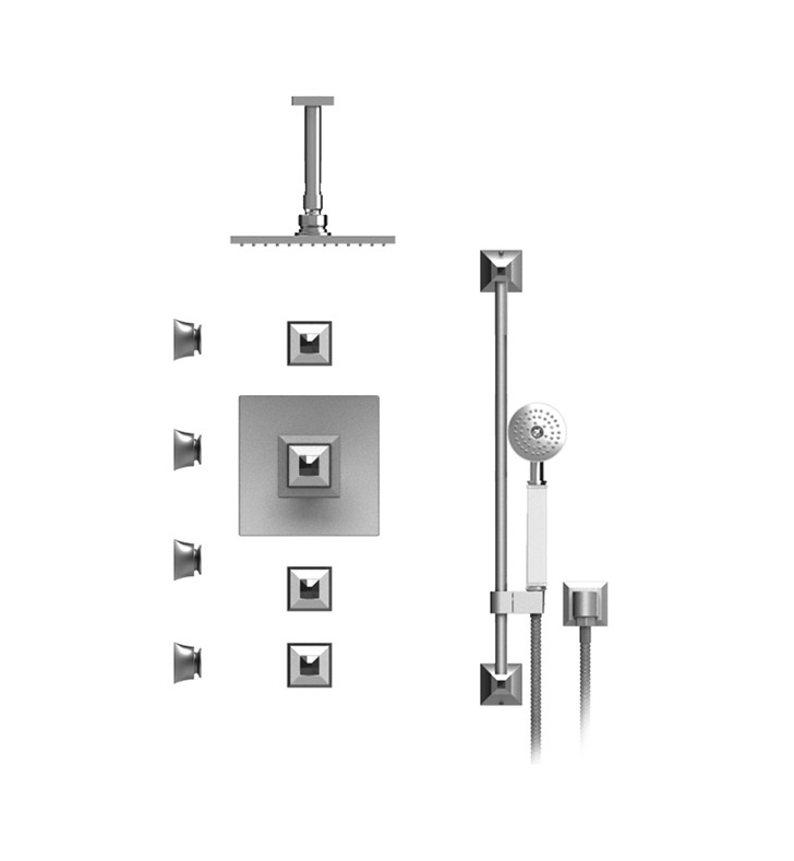 "Rubinet 47ICQSNSNCL Ice Temperature Control Shower with Ceiling Mount 8"" Shower Head, Bar, Integral Supply, Hand Held Shower & Four Body Sprays With Finish: Main Finish: Satin Nickel 