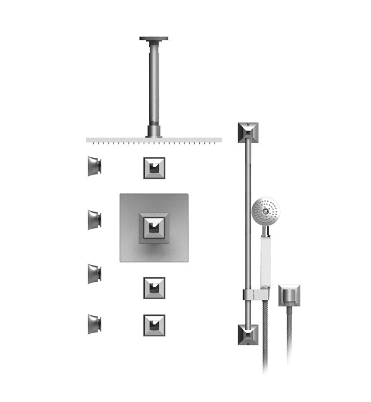 "Rubinet 48ICQCHCHJT Ice Temperature Control Shower with Ceiling Mount 14"" Shower Head, Bar, Integral Supply, Hand Held Shower & Four Body Sprays With Finish: Main Finish: Chrome 