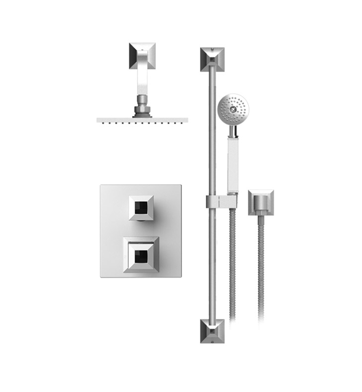 "Rubinet 21ICQCHCHJT Ice Temperature Control Shower with Two Way Diverter & Shut-Off, Handheld Shower, Bar, Integral Supply & Wall Mount 8"" Shower Head & Arm With Finish: Main Finish: Chrome 