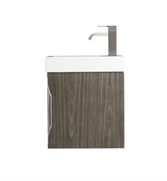 "James Martin 388-V16-AGR-WG Columbia 16"" Single Vanity Cabinet in Ash Gray with White Glossy Resin Countertop"