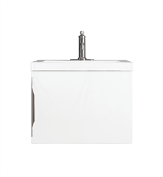 "James Martin 388-V24-GW Columbia 24"" Single Vanity Cabinet in Glossy White and Brushed Nickel Hardware Finish"
