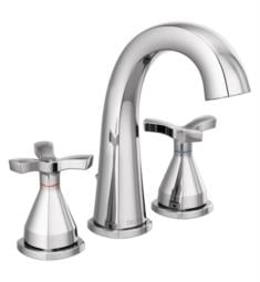 "Delta 357756-MPU-DST Stryke 7 3/8"" Two Cross Handle Widespread Bathroom Sink Faucet with Pop-Up Drain"