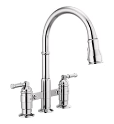 Delta 2390L-DST Broderick Two Handle Pull-Down Bridge Kitchen Faucet