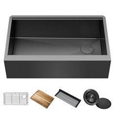 "Kraus KWF410-33-PGM Kore 33"" Farmhouse Flat Apron Front 16 Gauge Stainless Steel Single Bowl Kitchen Sink in PVD Gunmetal Finish with Accessories"