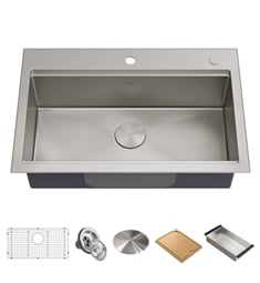 "Kraus KWT300-32 Kore 32"" Drop-In or Undermount Single Bowl Stainless Steel Kitchen Sink with Accessories"