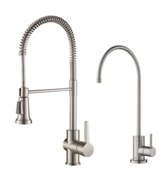 Kraus KPF-1690-FF-100 Britt Commercial Style Kitchen Faucet and Purita™ Water Filter Faucet Combo