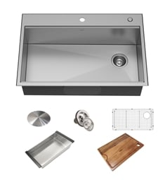"Kraus KWT310-33-18 Kore Workstation 33"" Drop-In/Undermount 18 Gauge Stainless Steel Single Bowl Kitchen Sink"