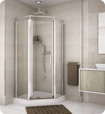 "Fleurco E36-25-40  Banyo Sevilla 36"" Semi Frameless Neo Angle Pivot Door With Hardware Finish: Brushed Nickel And Glass Type: Clear Glass"