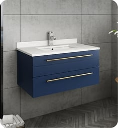 "Fresca FCB6130RBL-UNS-U Lucera 30"" Blue Wall Hung Modern Bathroom Cabinet with Top & Undermount Sink"